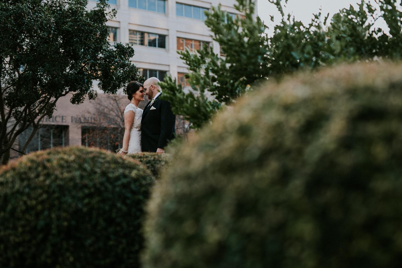 photos of wedding couple downtown austin