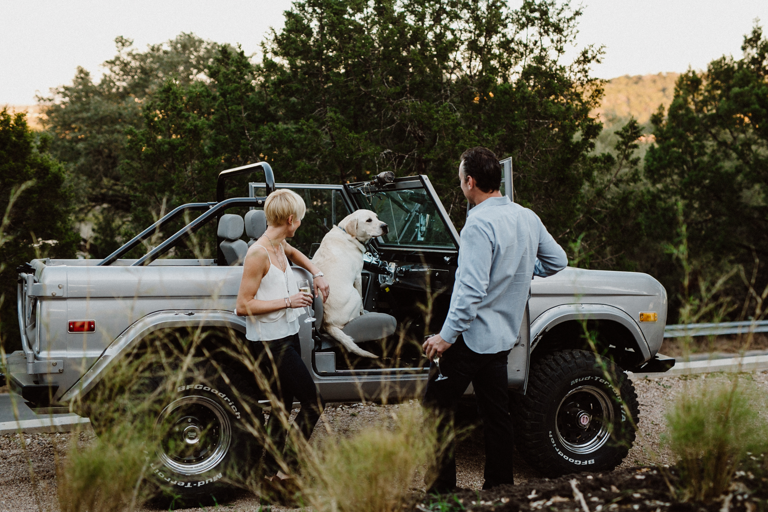 old bronco engagement photo