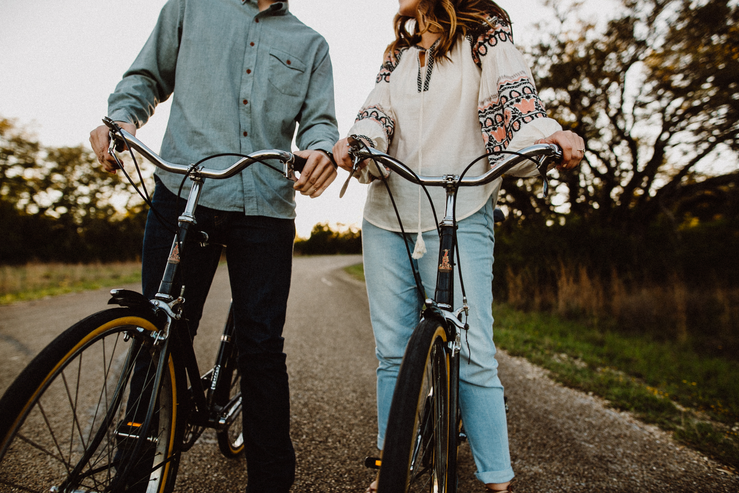 engagement session on bikes