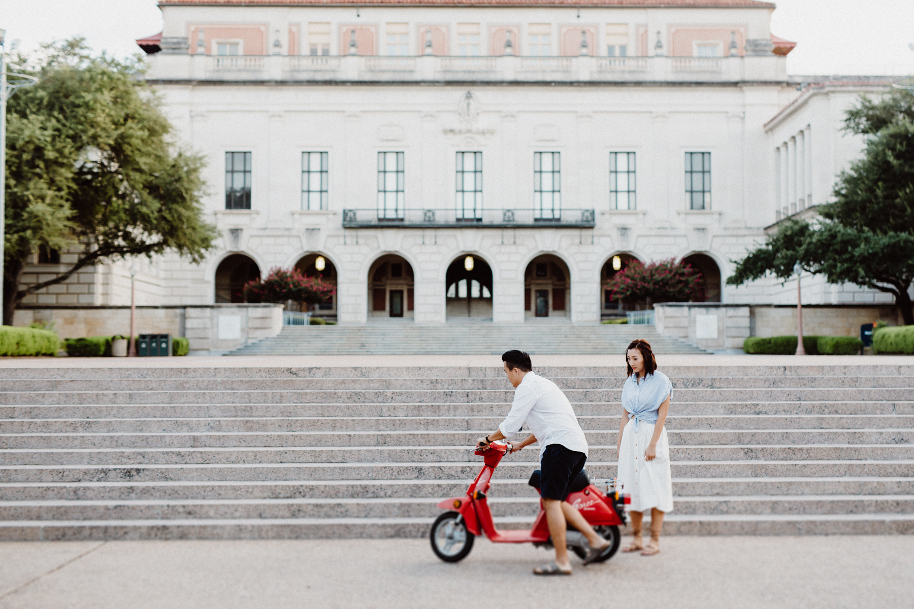 moped for engagement session ut austin
