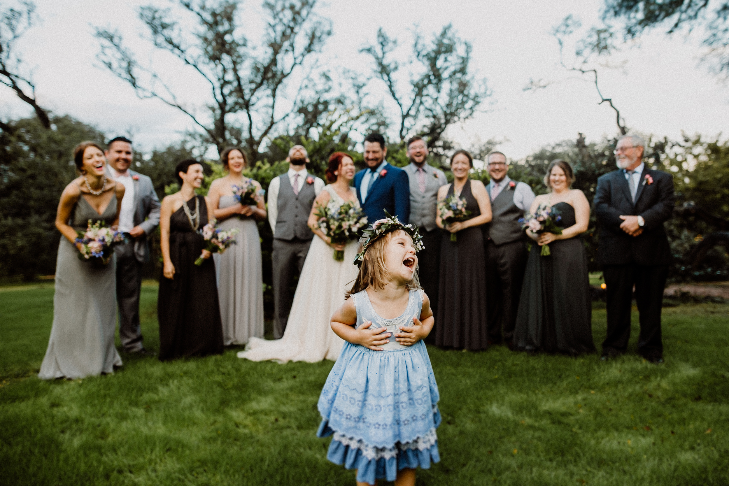 wedding party at wildflower barn