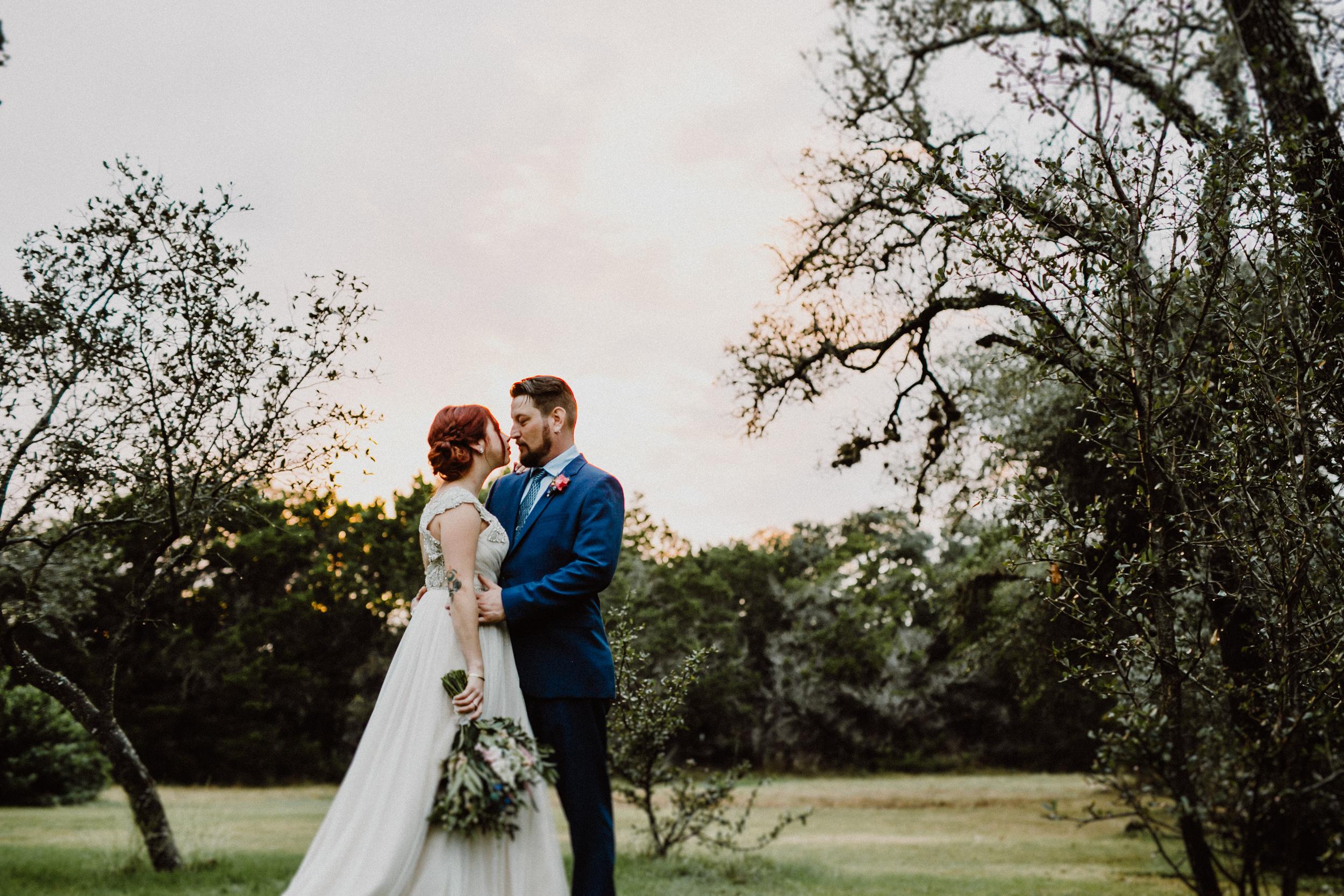 bride and groom at wildflower barn