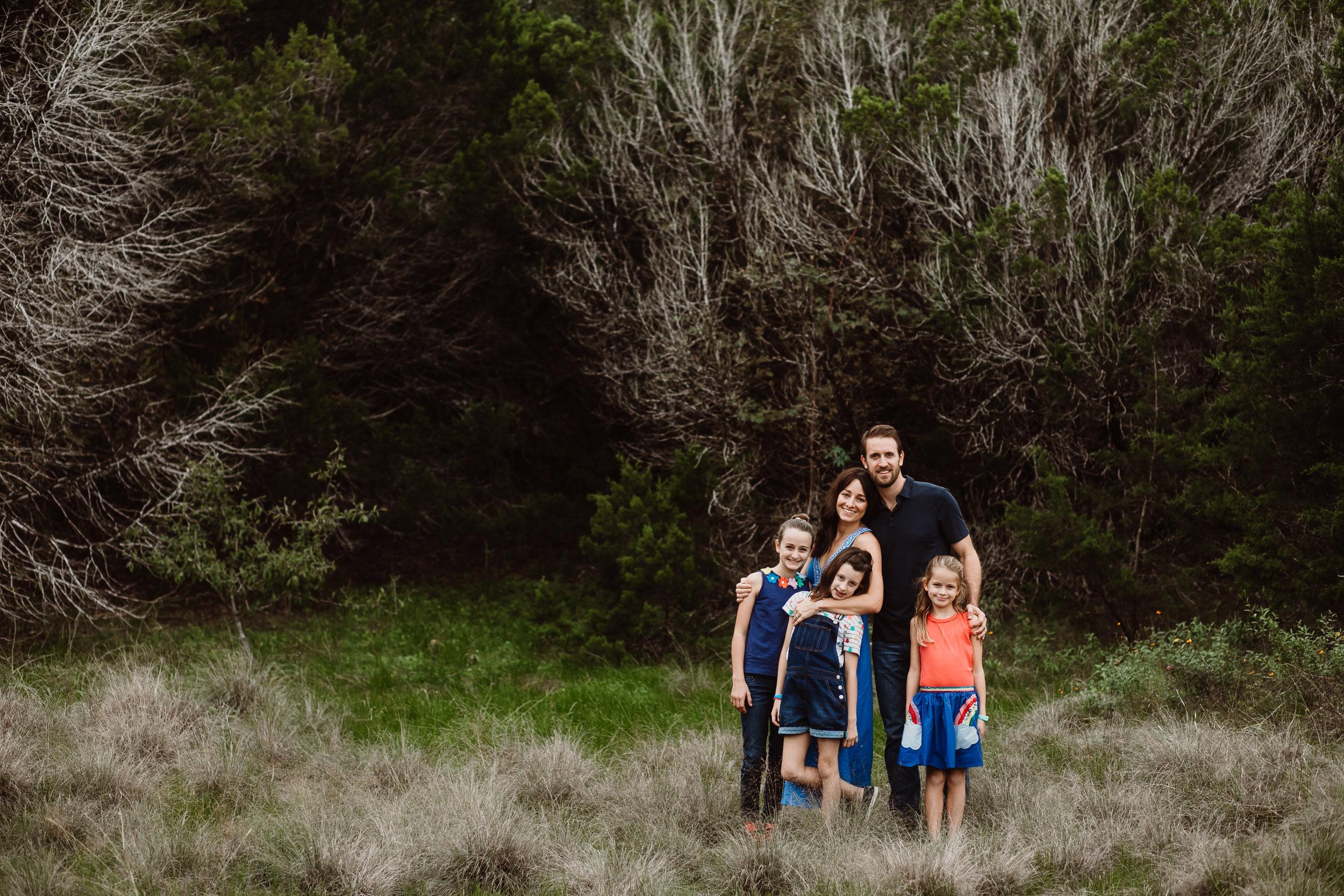 family photo at mckinney falls austin