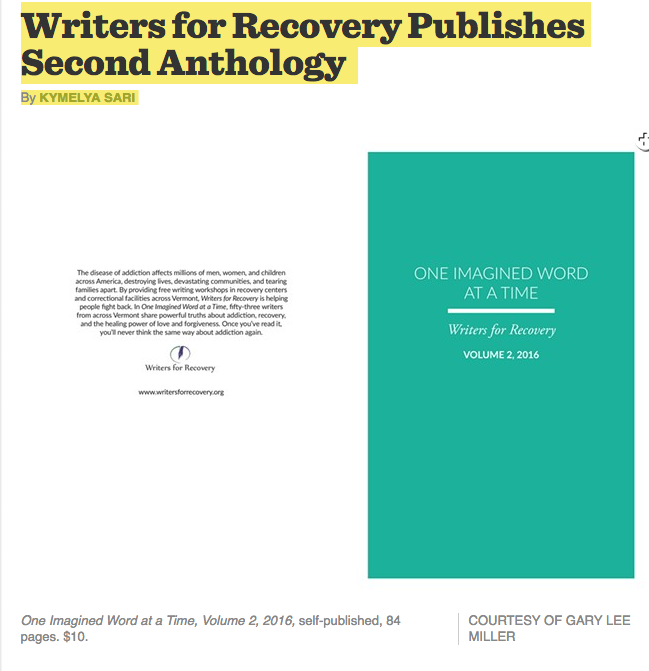 Peter Lee   Seven Days Story on Writers for Recovery's 2nd Anthology, One Imagined Word at a Time.