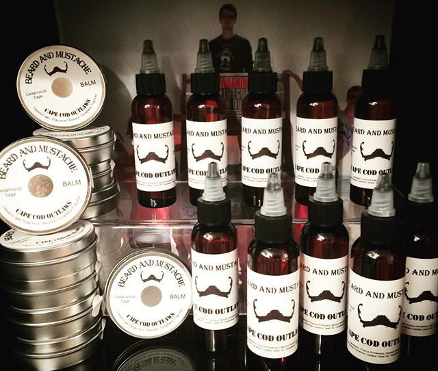 On the shelf, next up the website! Beard and mustache balm and oil #beardbalm #mustacheoil #beardoil #mustachwax #capecod