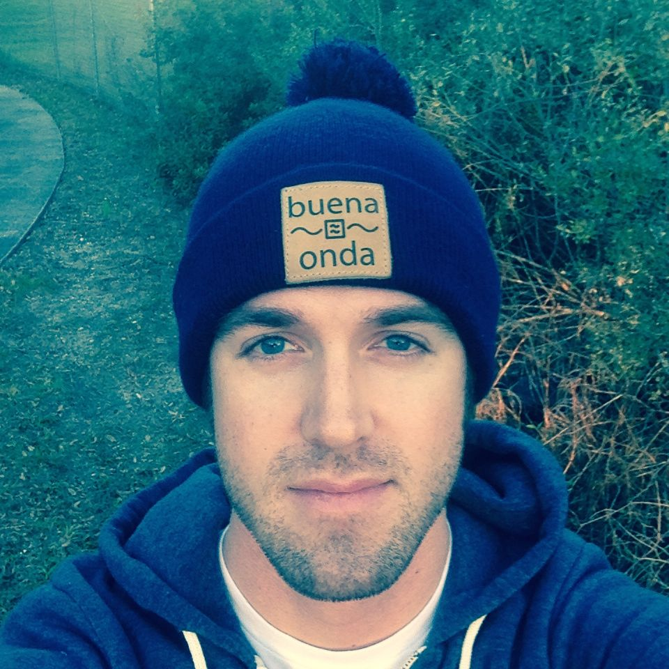Kevin wearing a brand new Buena Onda Stocking Cap.