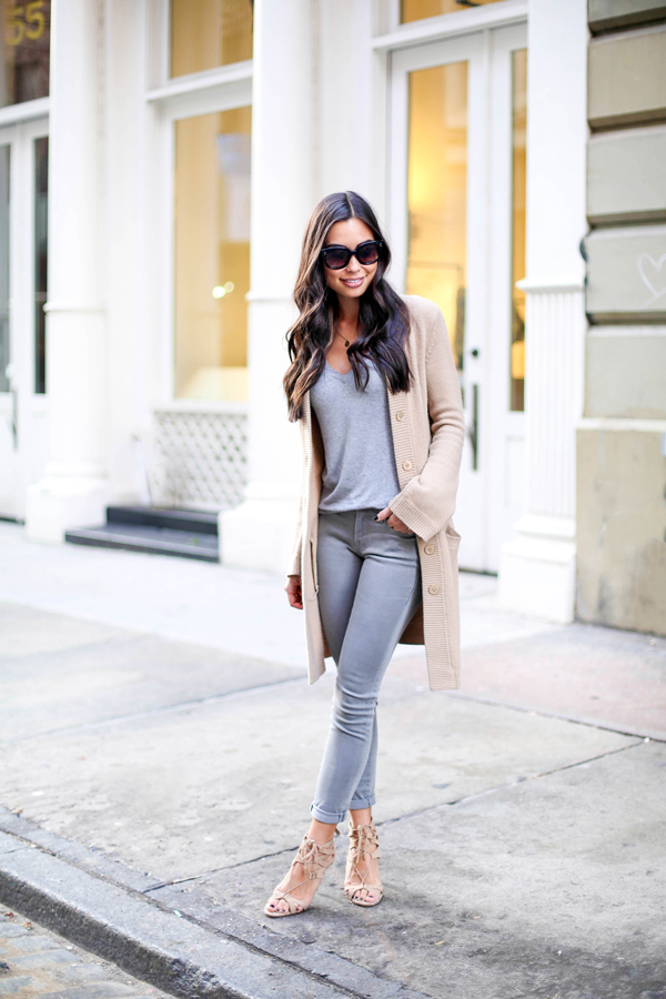 I love this Tan + Grey look because it's such a simple, casual outfit, yet I would never think to put something like this together! I could wear this outfit out for brunch on a Sunday morning or to get drinks with friends on a Saturday night! The unusual color combo definitely makes this outfit stand out! And look at those shoes!!!!!!