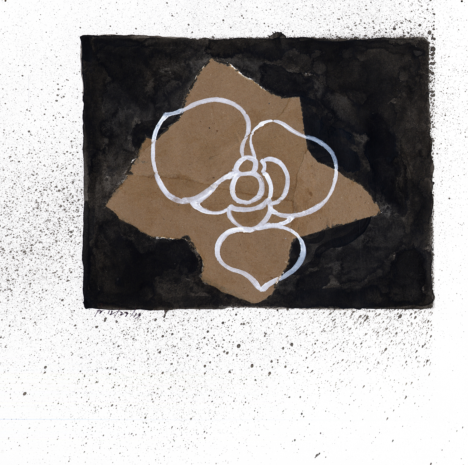Drawing #34  , 2014, India ink and collage on paper, 12 x 12 in.