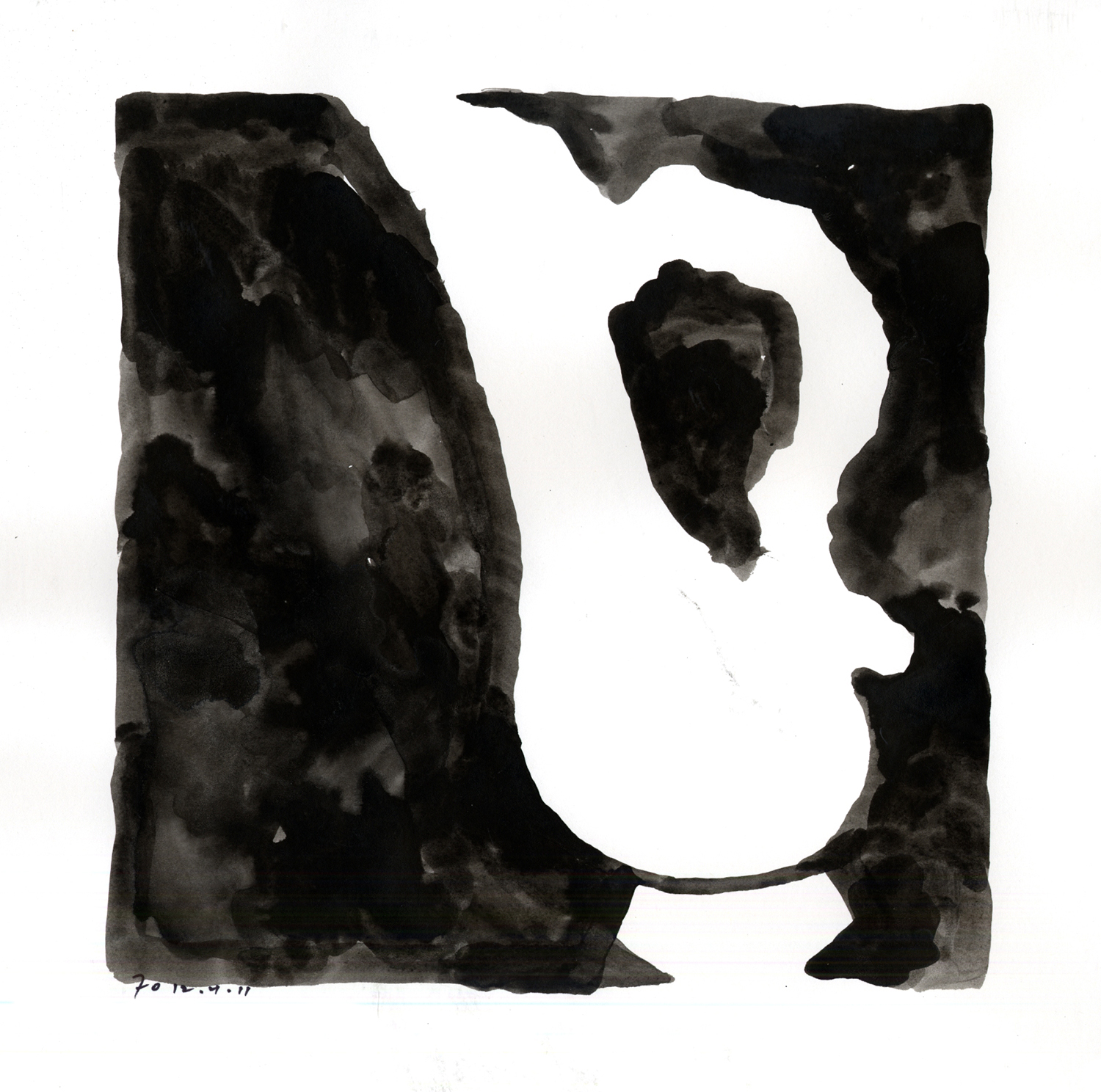 Drawing #3  , 2011, India ink on paper, 12 x 12 in.