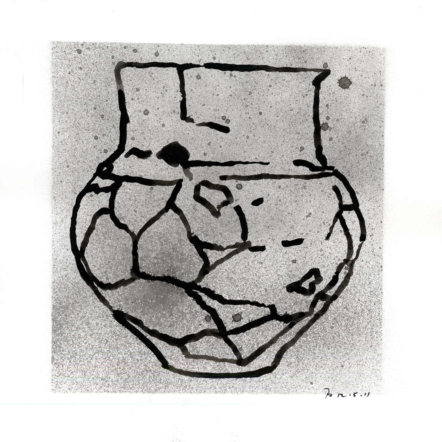 Drawing #9  , 2011, India ink on paper, 12 x 12 in.
