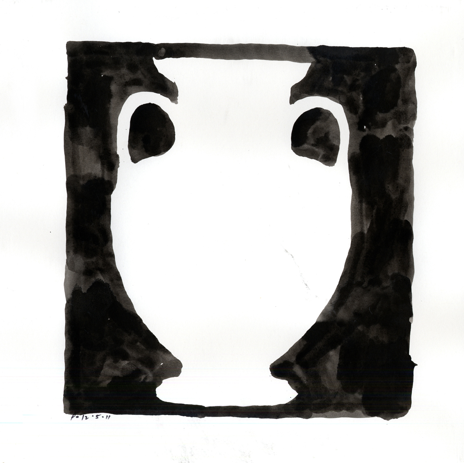 Drawing #12  , 2012, India ink on paper, 12 x 12 in.