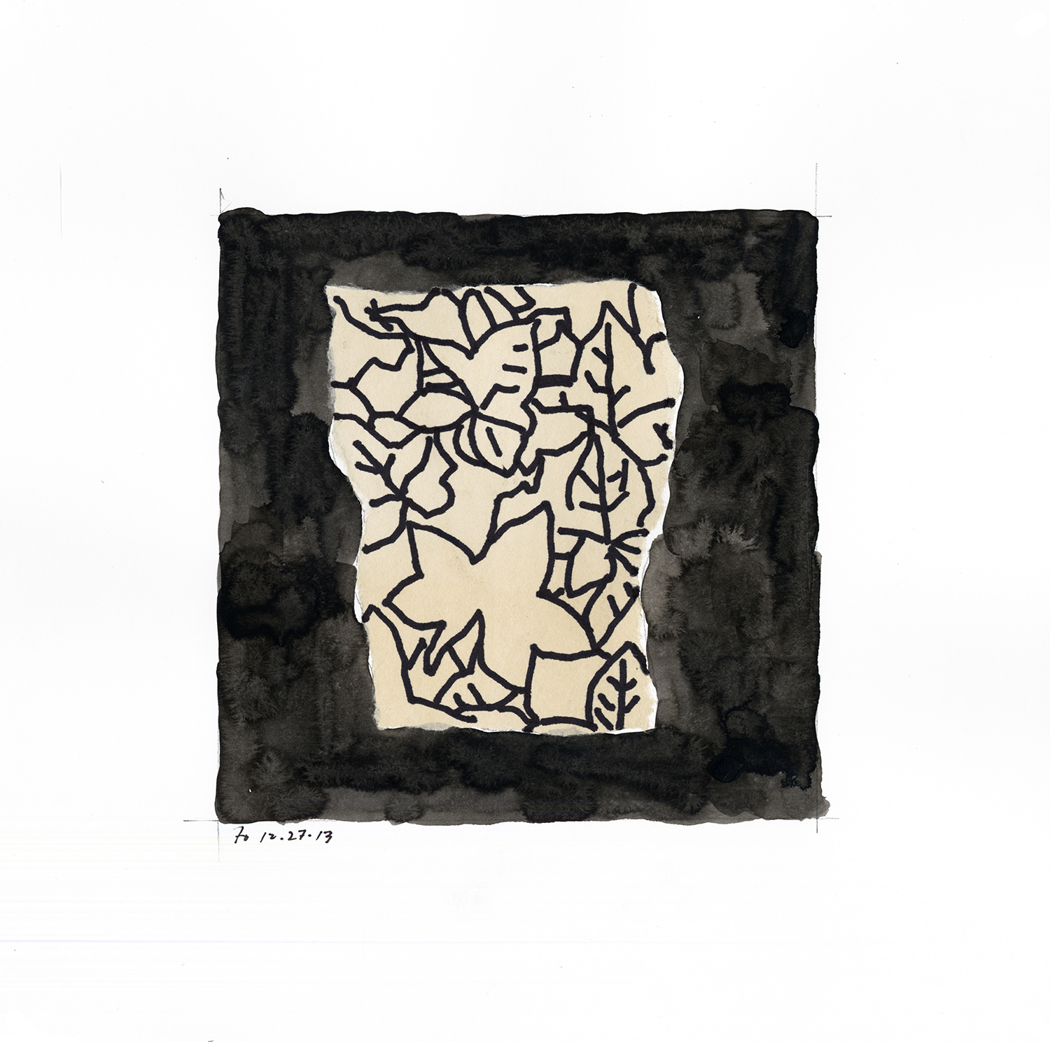 Drawing #7  , 2014, India ink and collage on paper, 12 x 12 in.