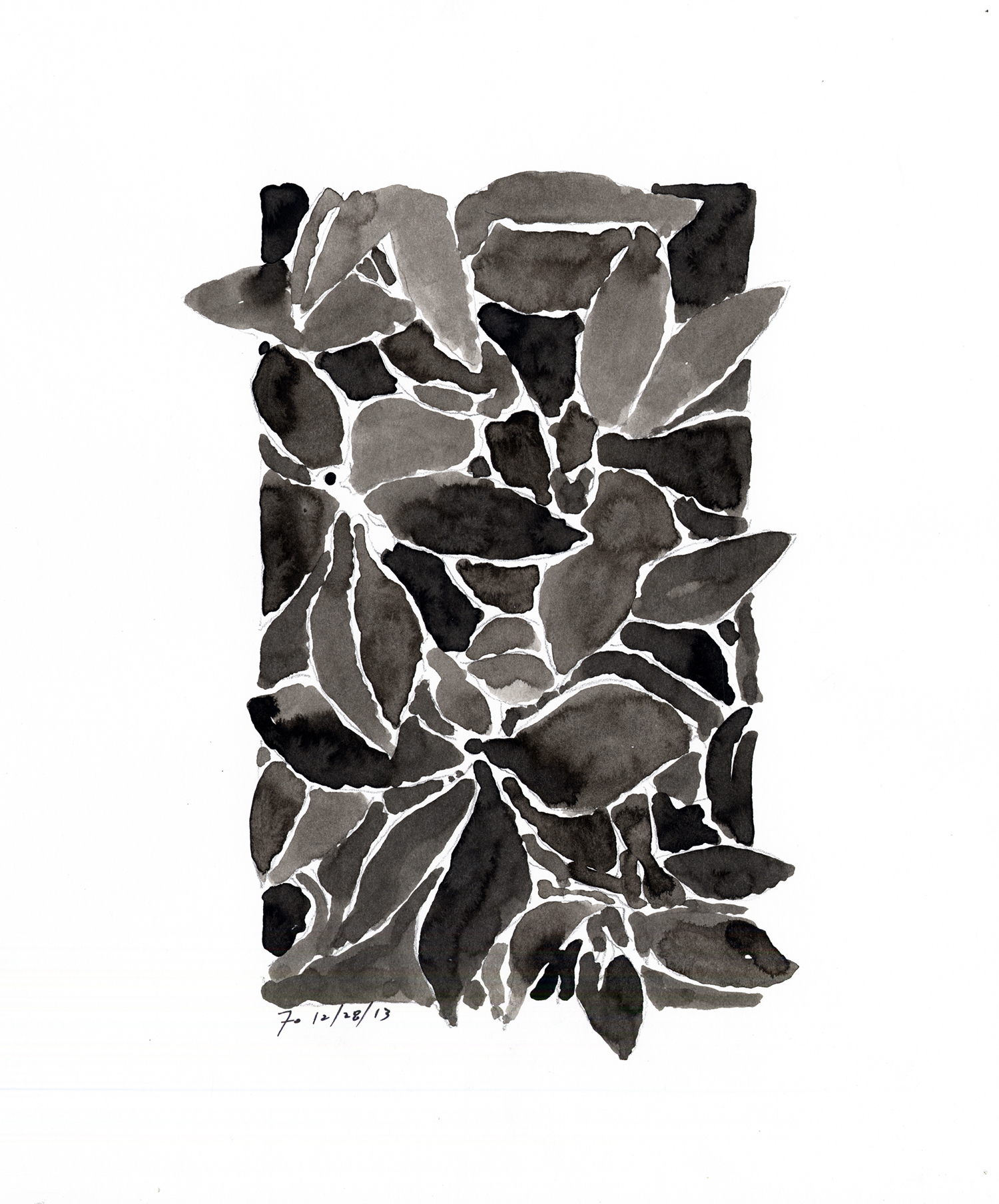 Drawing #19  , 2014, India ink on paper, 12 x 12 in.