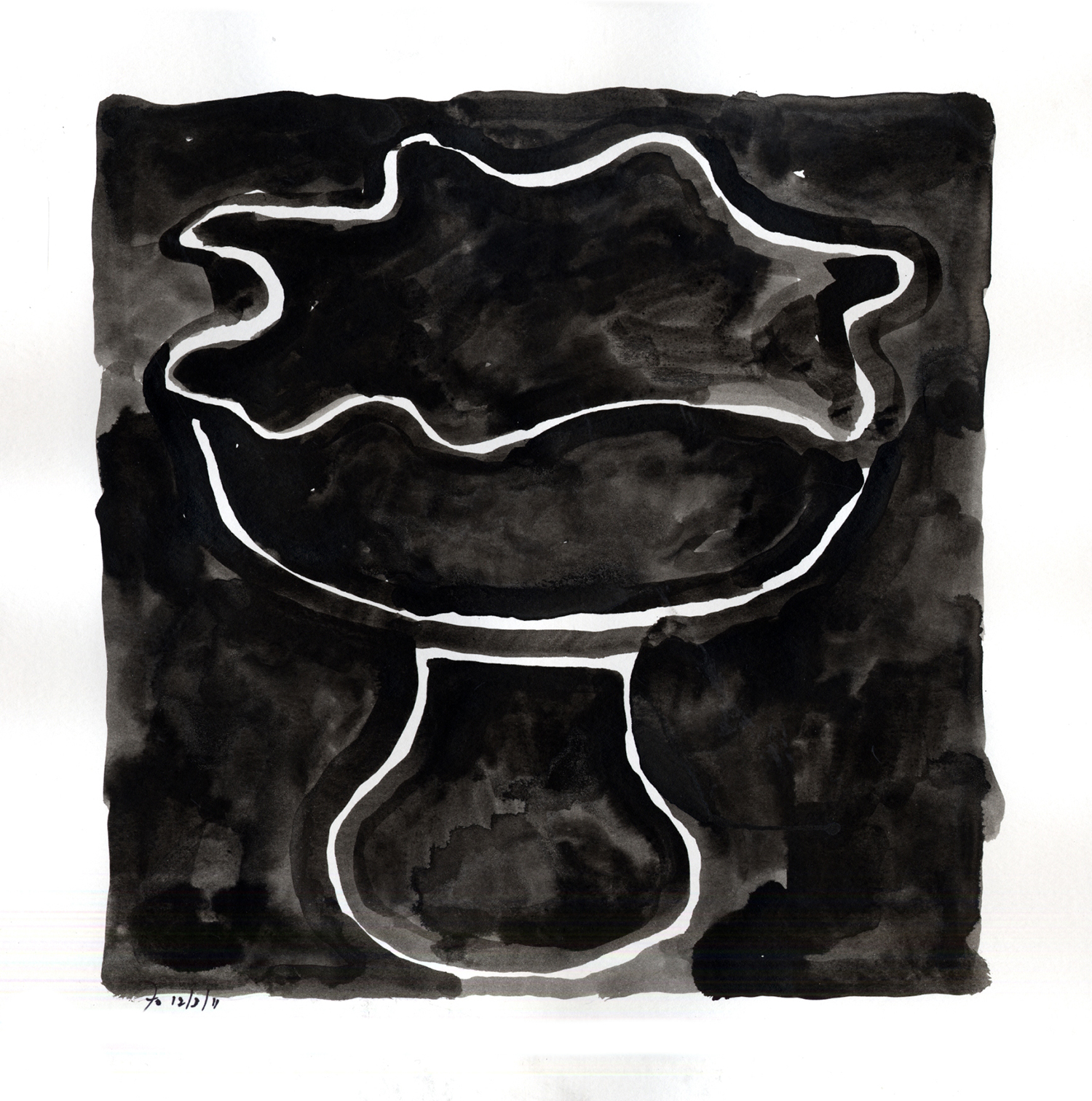 Drawing #11  , 2012, India ink on paper, 12 x 12 in.