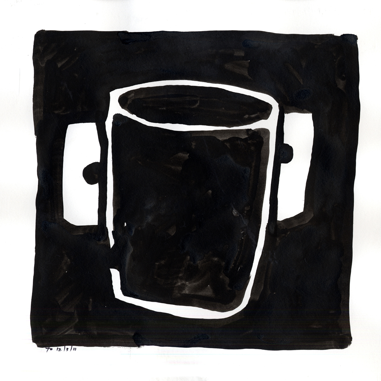 Drawing #15  , 2012, India ink on paper, 12 x 12 in.