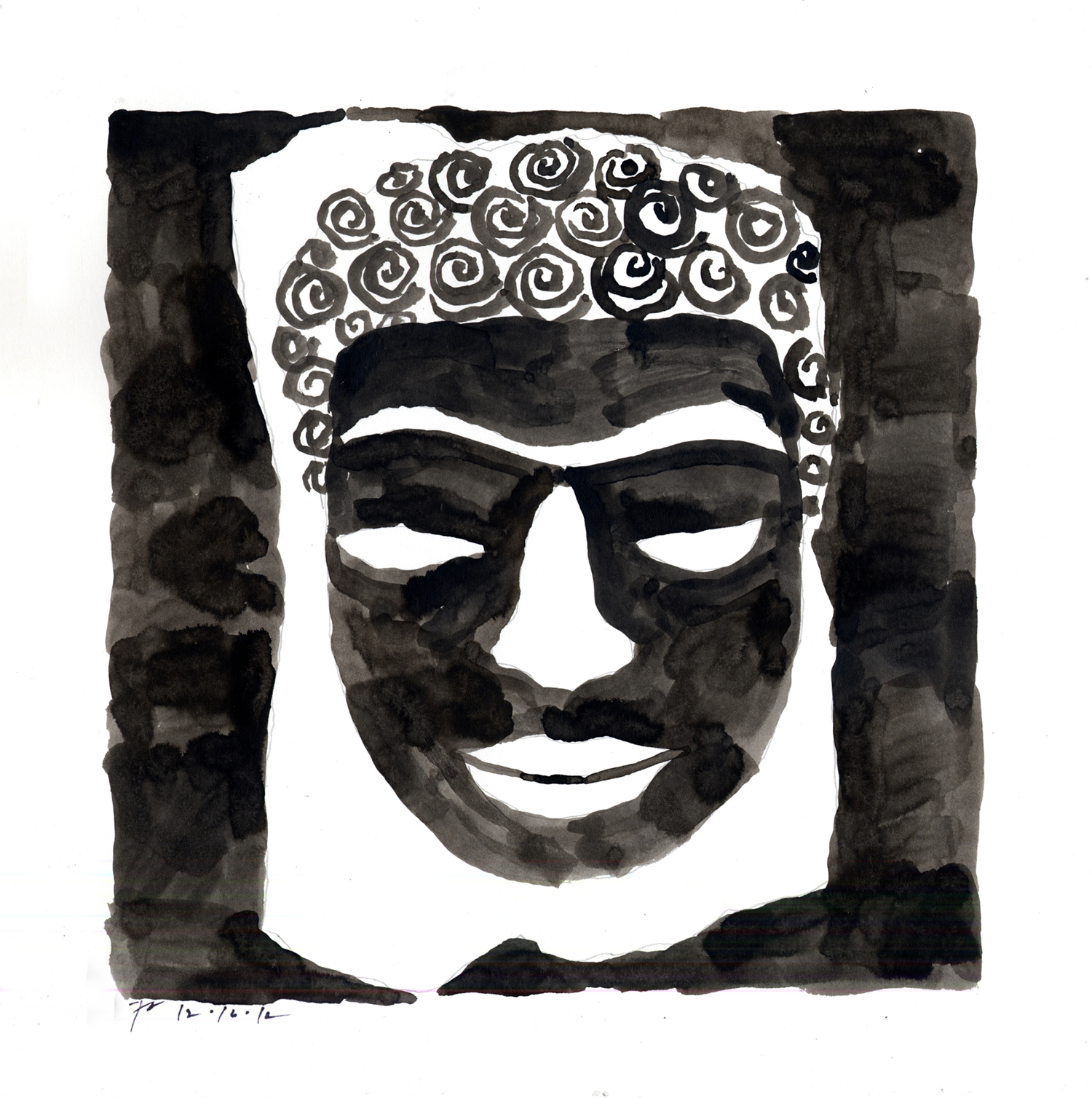 Drawing #17  , 2011, India ink on paper, 12 x 12 in.