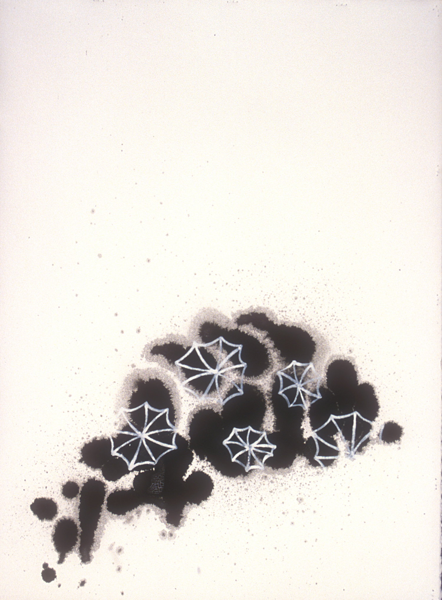 Aquatic 4  , 2003, India ink and gesso on paper, 36 x 22 in.