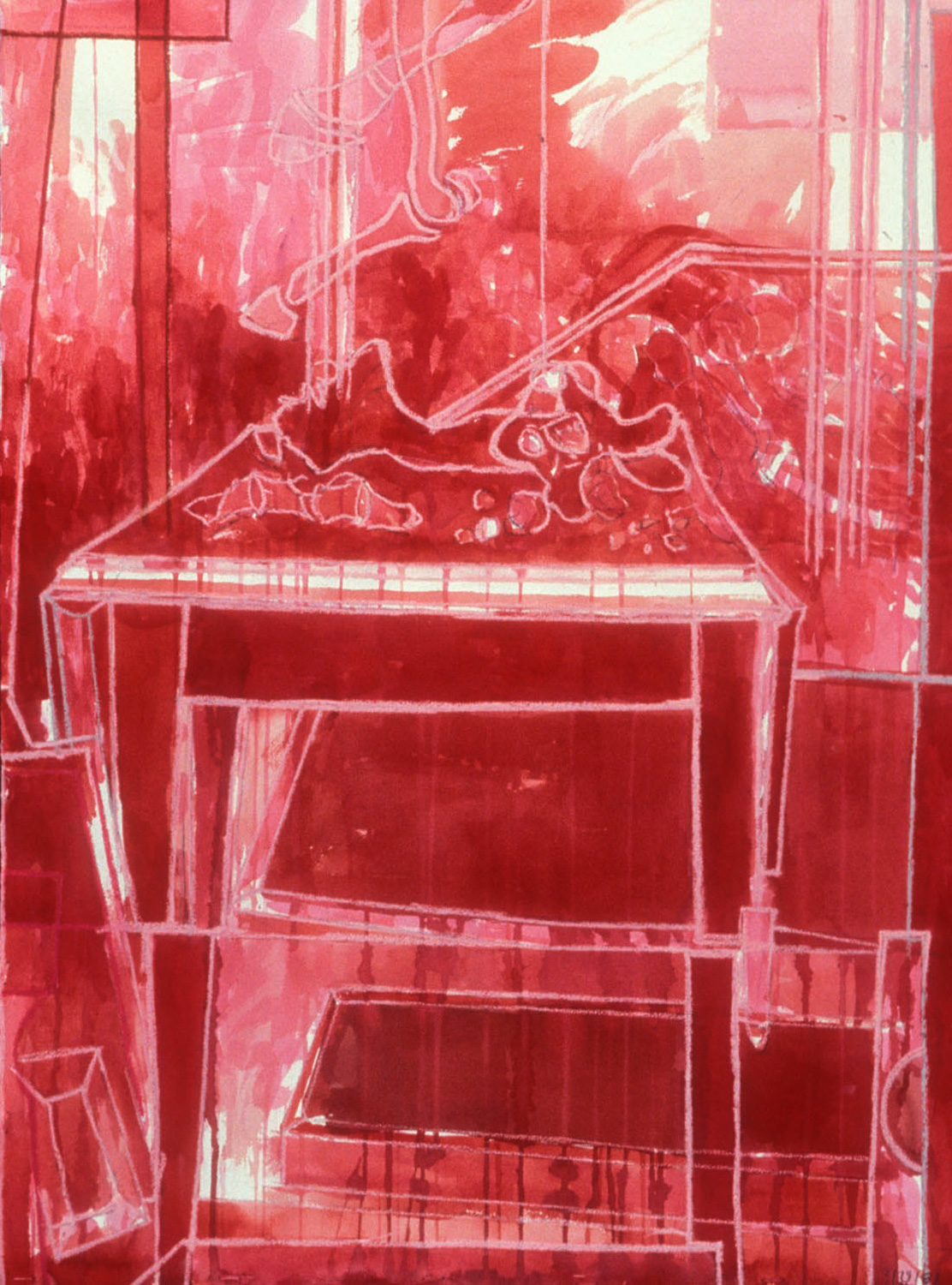 Red Table,   1989, charcoal and gouache on paper, 30 x 22 in.