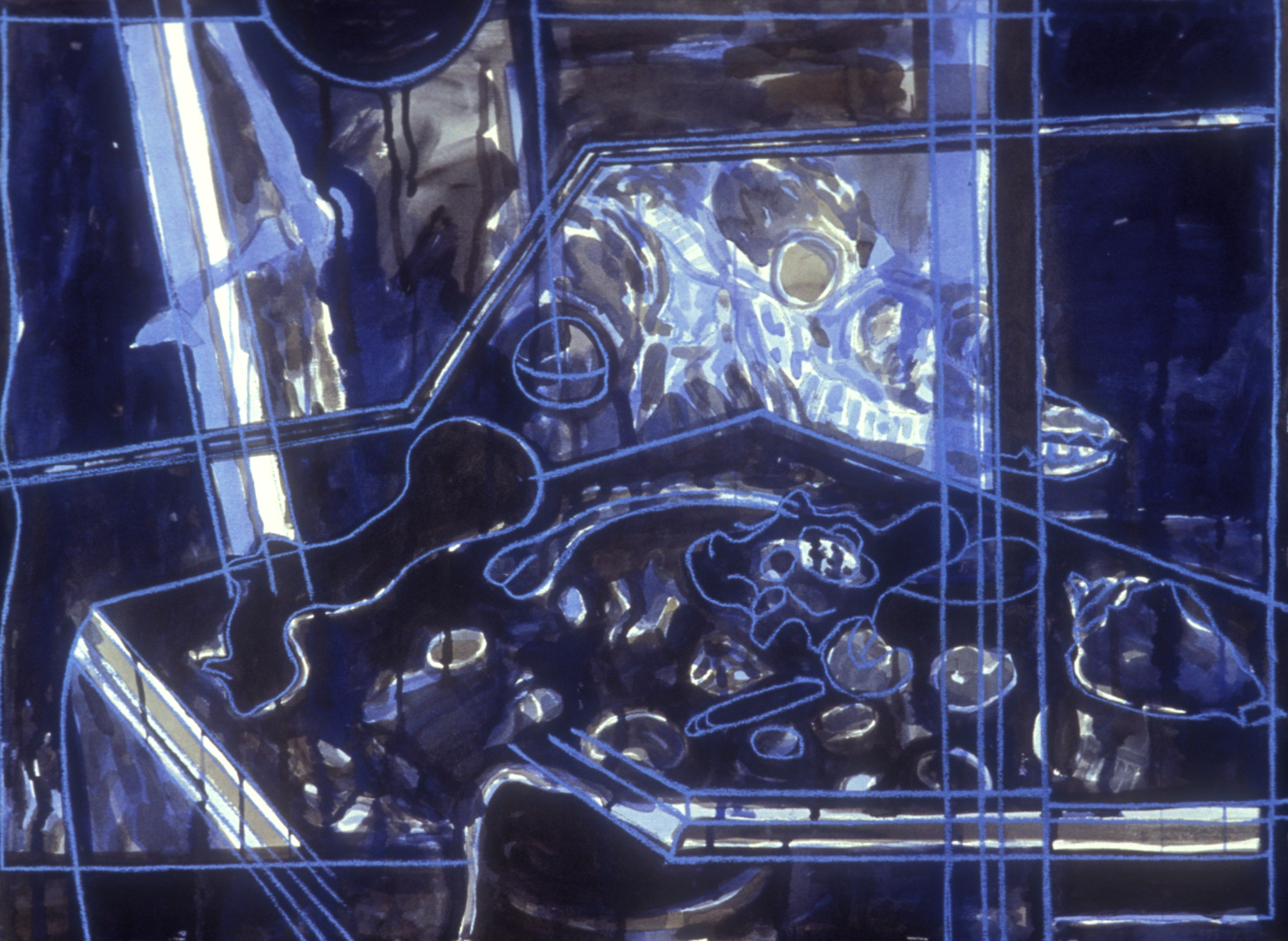 Blue Studio,   1989, charcoal and gouache on paper, 22 x 30 in.