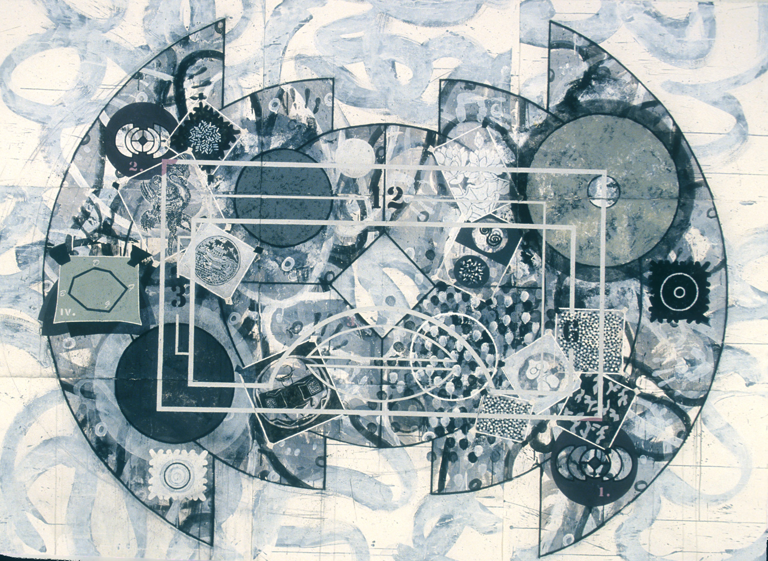 Study for Virtues,   1994, acrylic, charcoal and gesso on paper, 66 x 90 in.