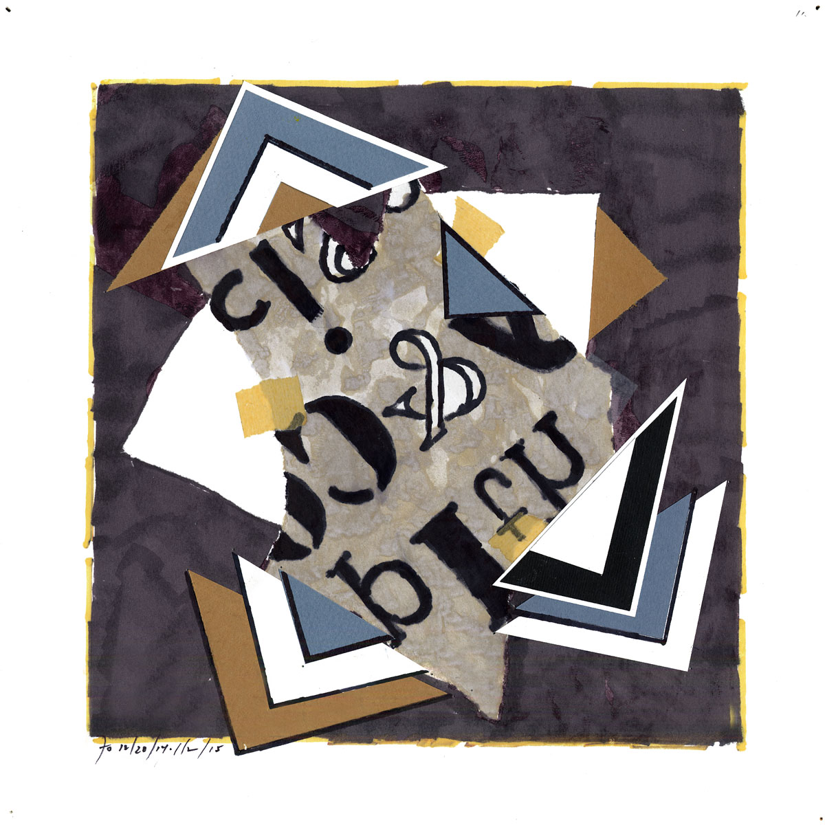 Collage #11 (first state)  , 2015, mixed media on paper, 12 x 12 in.