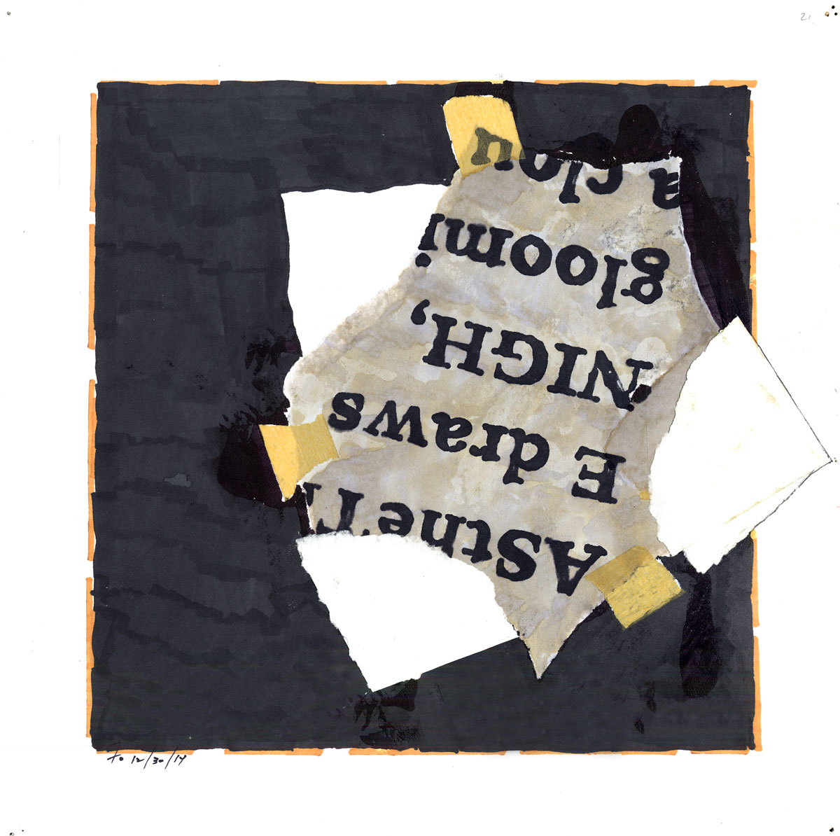 Collage #21     (first state)  , 2015, mixed media on paper, 12 x 12 in.
