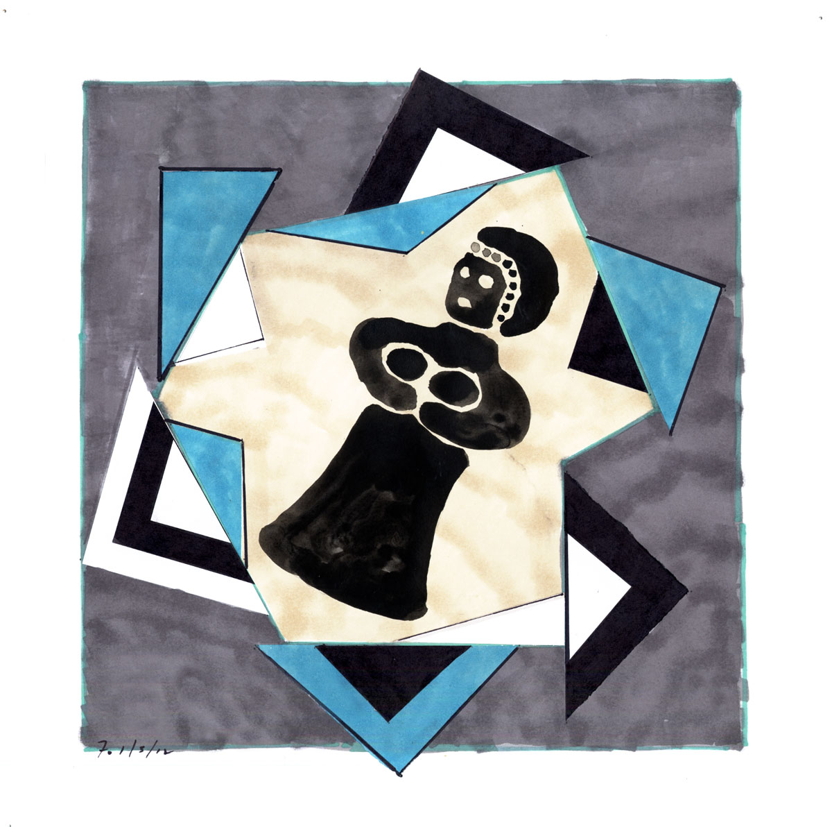Collage #28 (first state)  , 2012, mixed media on paper, 12 x 12 in.