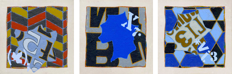 Triptych 4: Echo Park / Burn 4 / Danske , 2016 Oil and wax on canvas, 12 x 36 in.