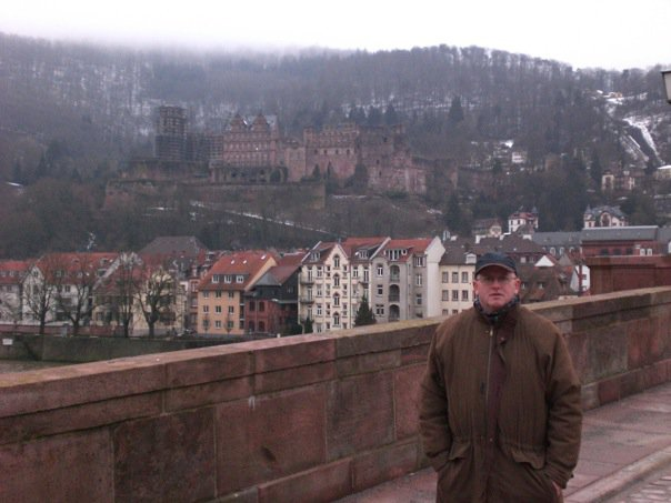 Old Bridge, Neckar River, with castle behind, Heidelberg, Germany (Feb 2010)
