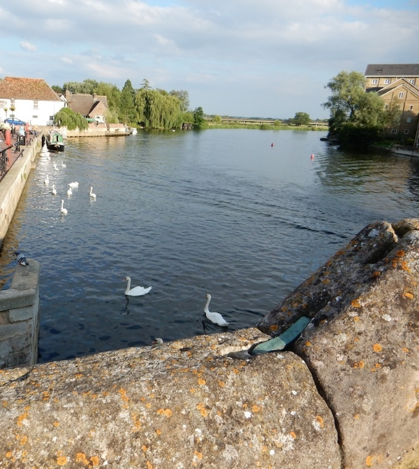 St. Ives Bridge, looking east, St. Ives, Cambridgeshire, UK (Jul 2014)