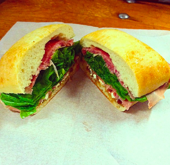 Thinly sliced prosciutto placed over our rich fig spread, covered with crisp spinach, and feta cheese on a cibatta roll. $7.35