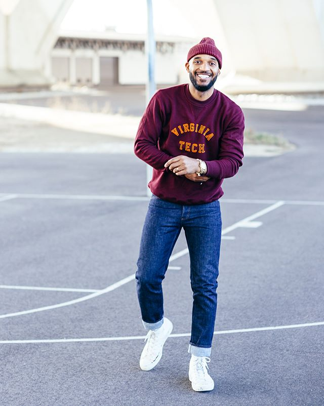 """Feeling (and wifey said """"lookin"""" 👀) 21 again in this fresh @collegevault sweatshirt. I never wear my college gear unless it's around the house. Not cause I'm ashamed, but because the quality is usually lacking. But the game has changed. @collegevault got some fire with this vintage collection. Now I can rep VA (Born & Raised🖖🏾) properly. Where the Hokies at? 