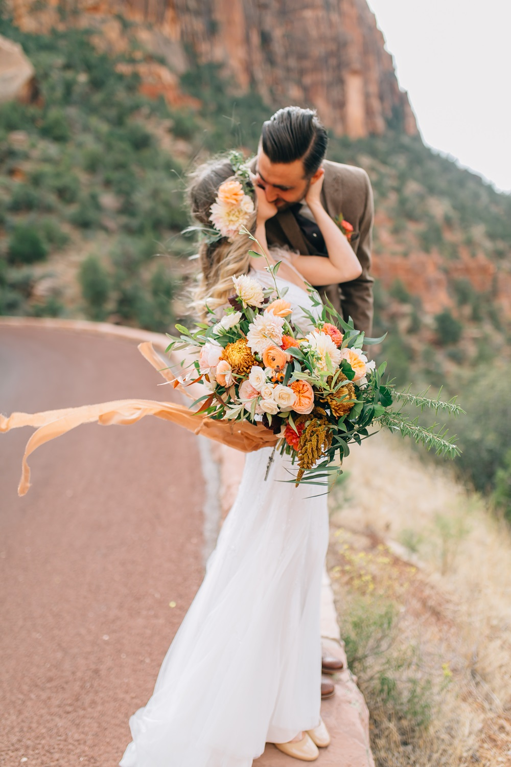 peach and gold bridal bouquet