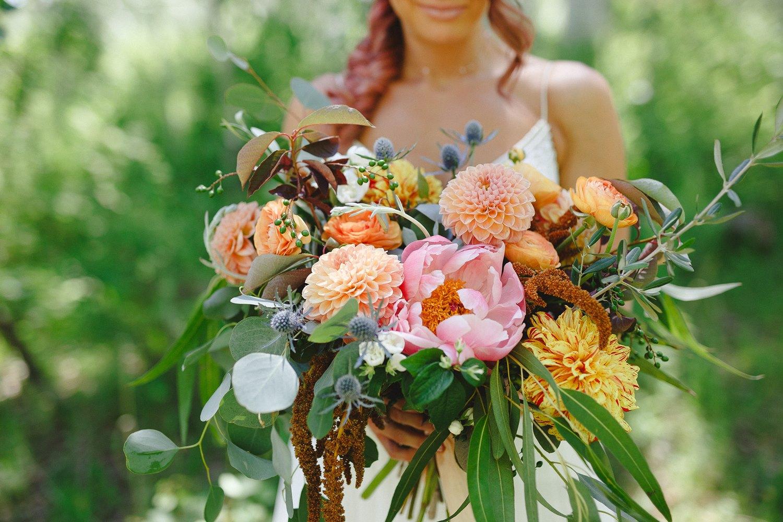 coral oversized bridal bouquet