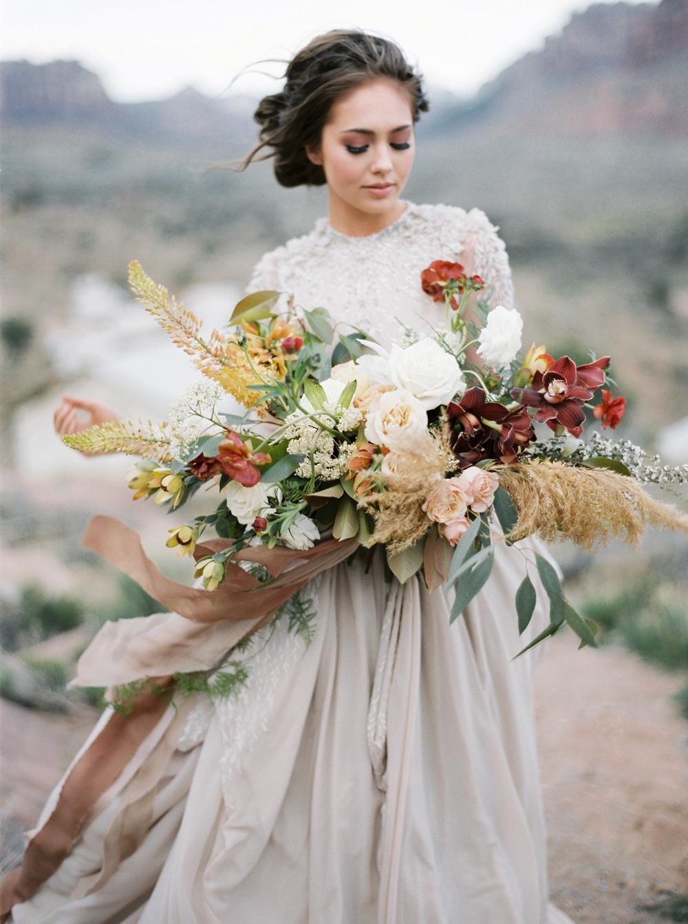 autumn inspired oversized bridal bouquet