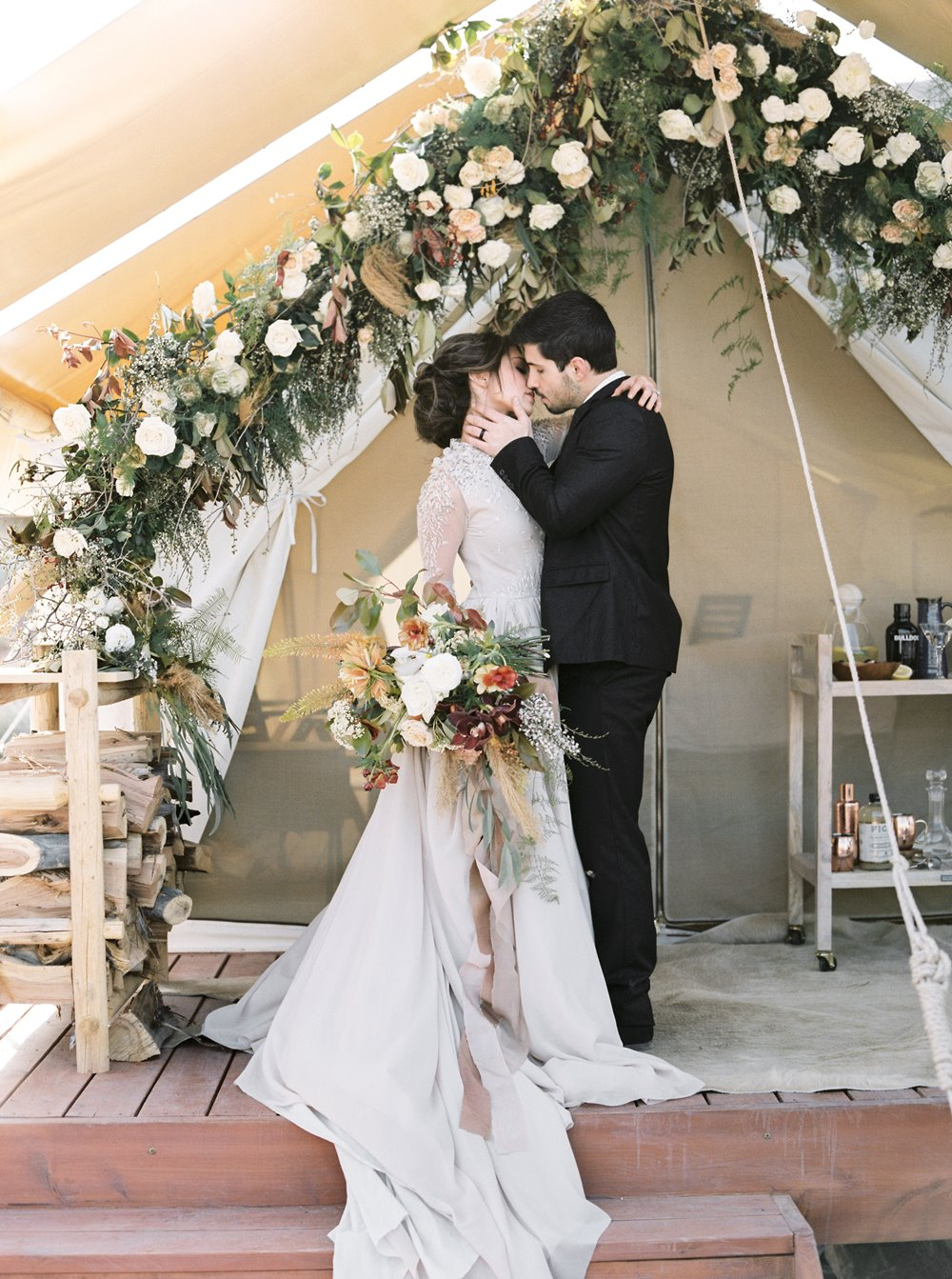 zion elopement ceremony backdrop