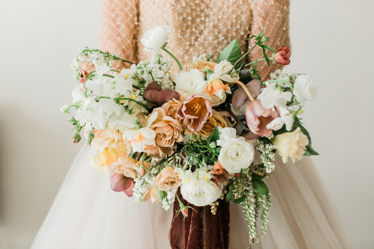 elegant garden style bridal bouquet by bloomers