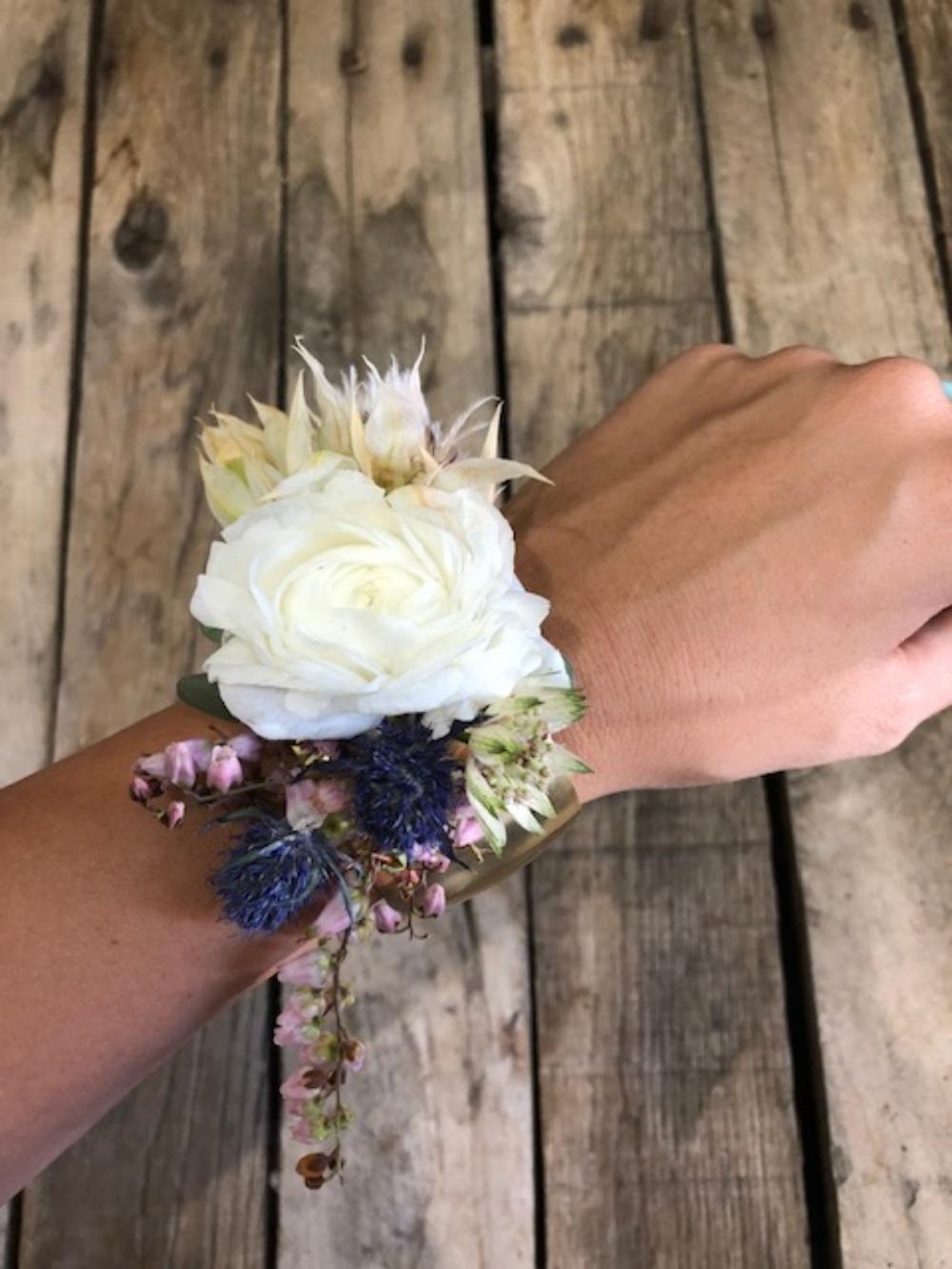 ranunculus wristlet on gold cuff