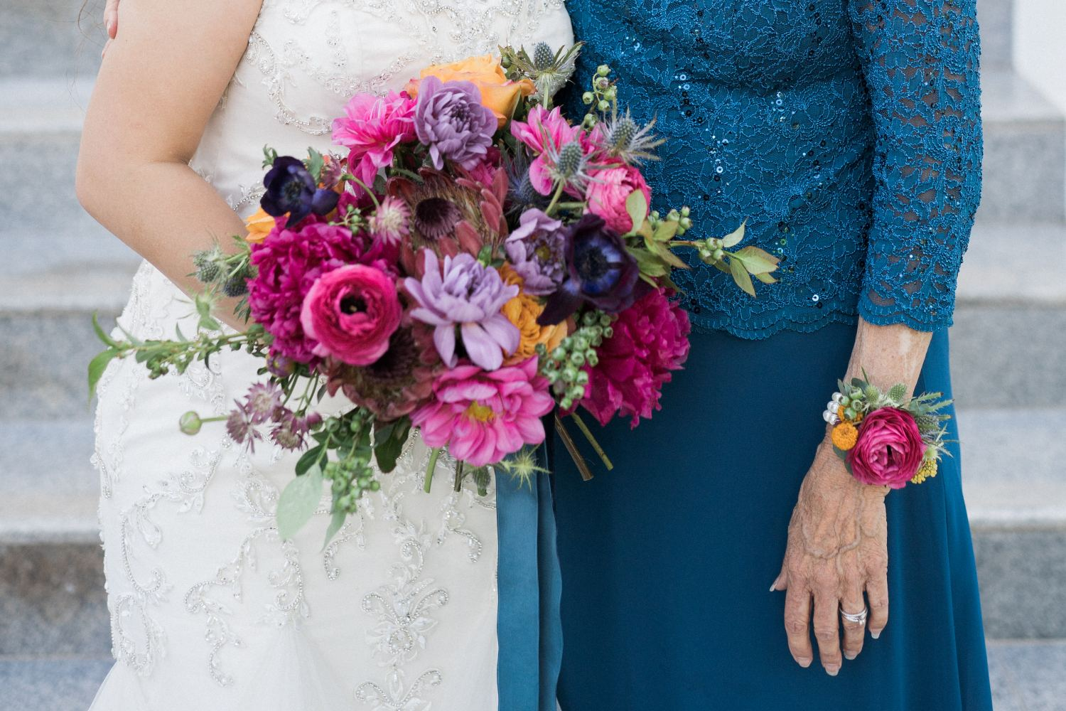 pink and fuchsia bridal bouquet and wristlet