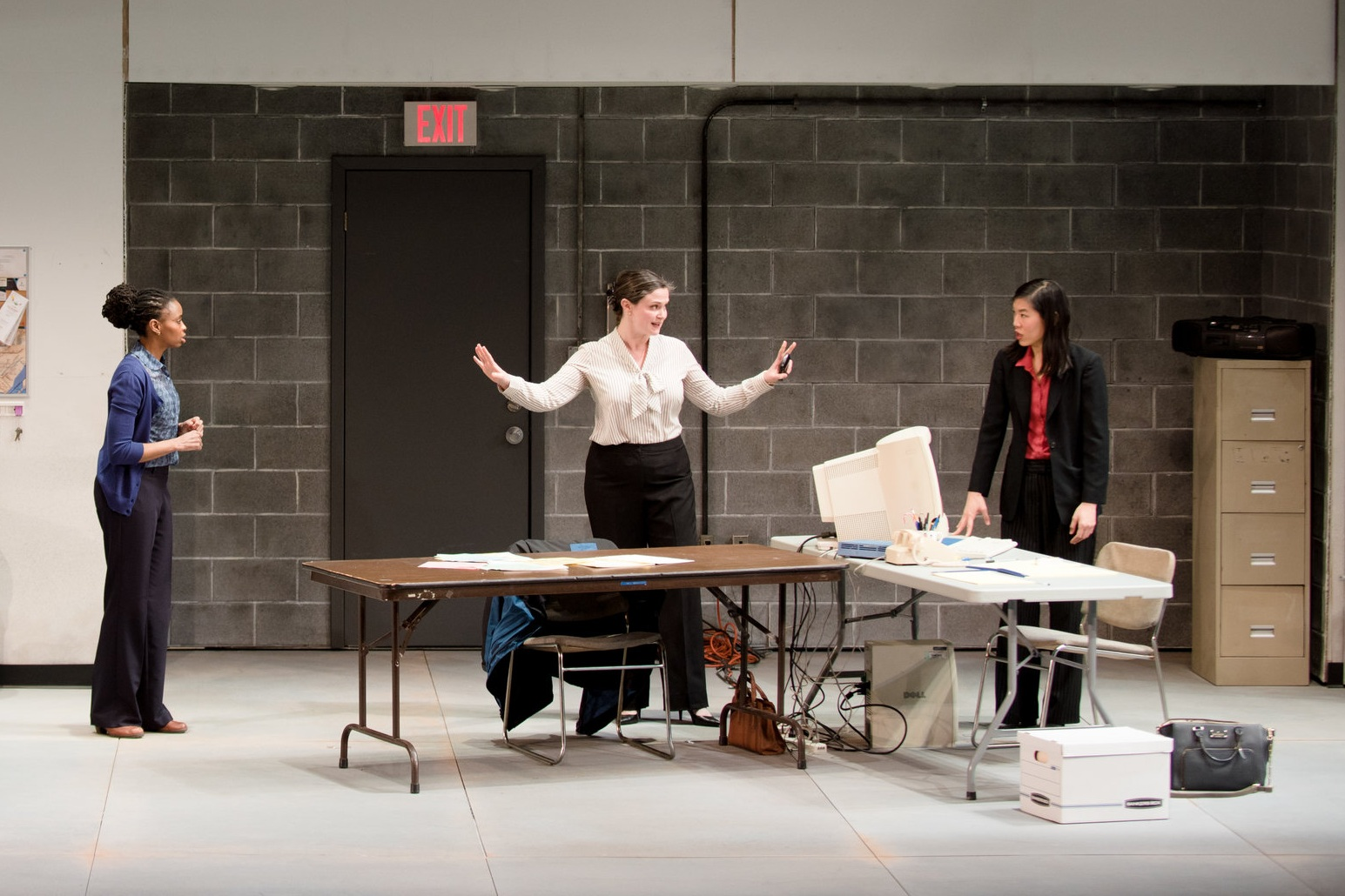Ted Koch, Carla Duren, Jessica Wortham, and Nancy Sun in MARGINAL LOSS by Deborah Stein, 2018 Humana Festival. Photo by Dana Rogers..JPG