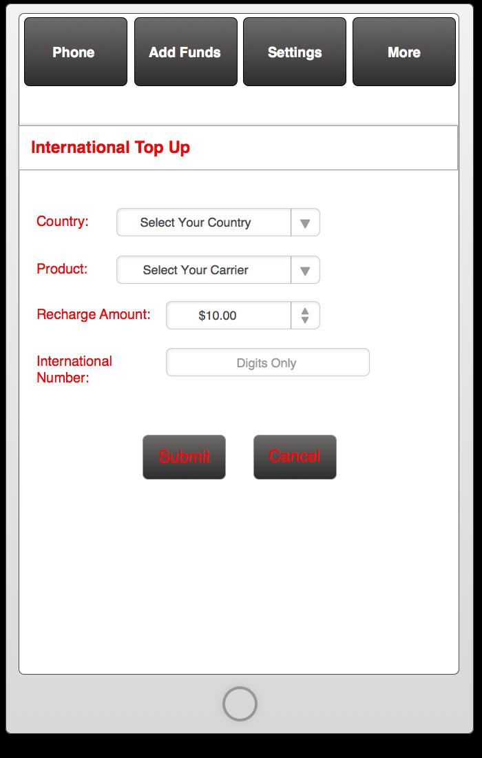 International Top Up UI