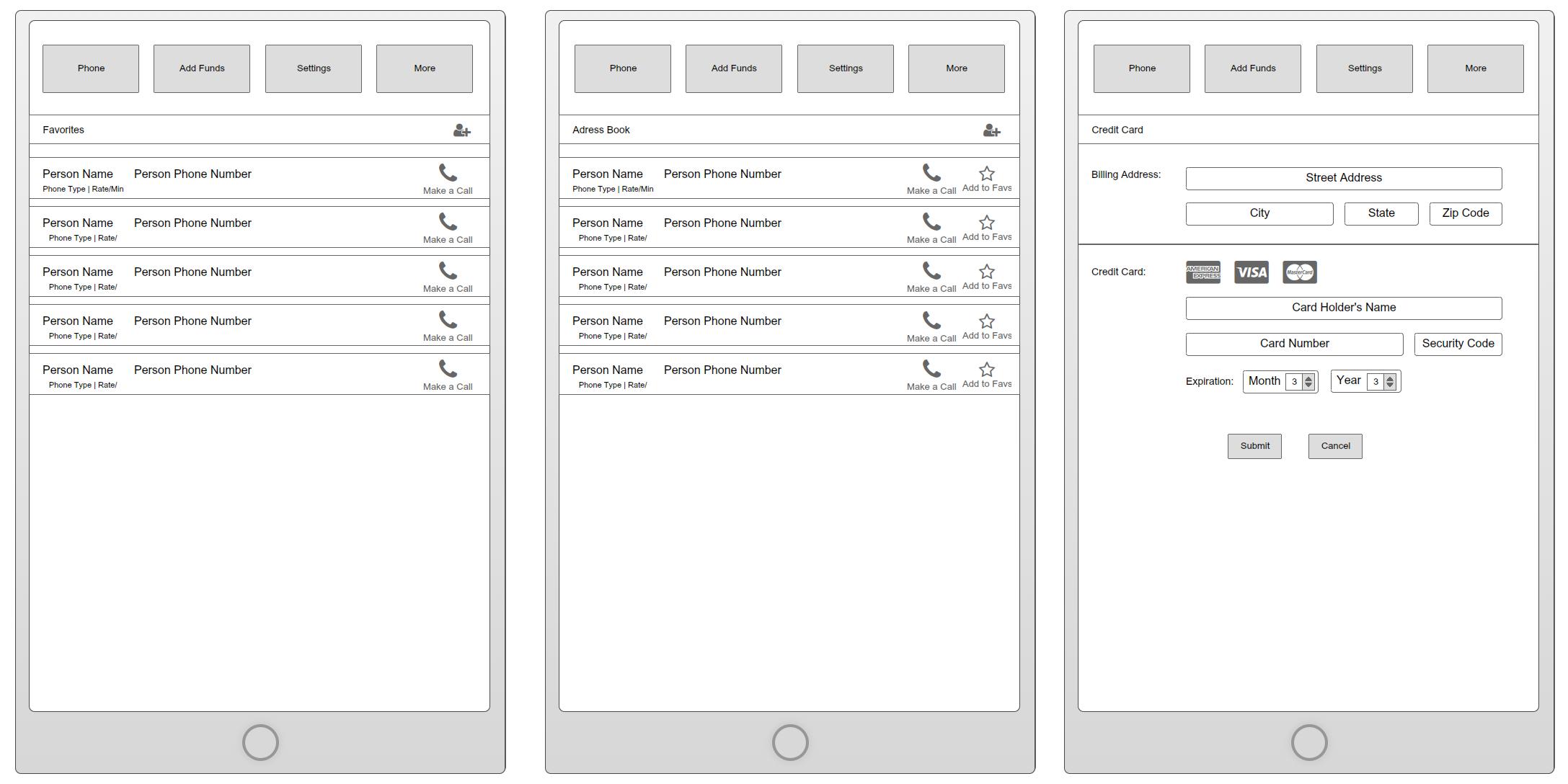 App Wireframes