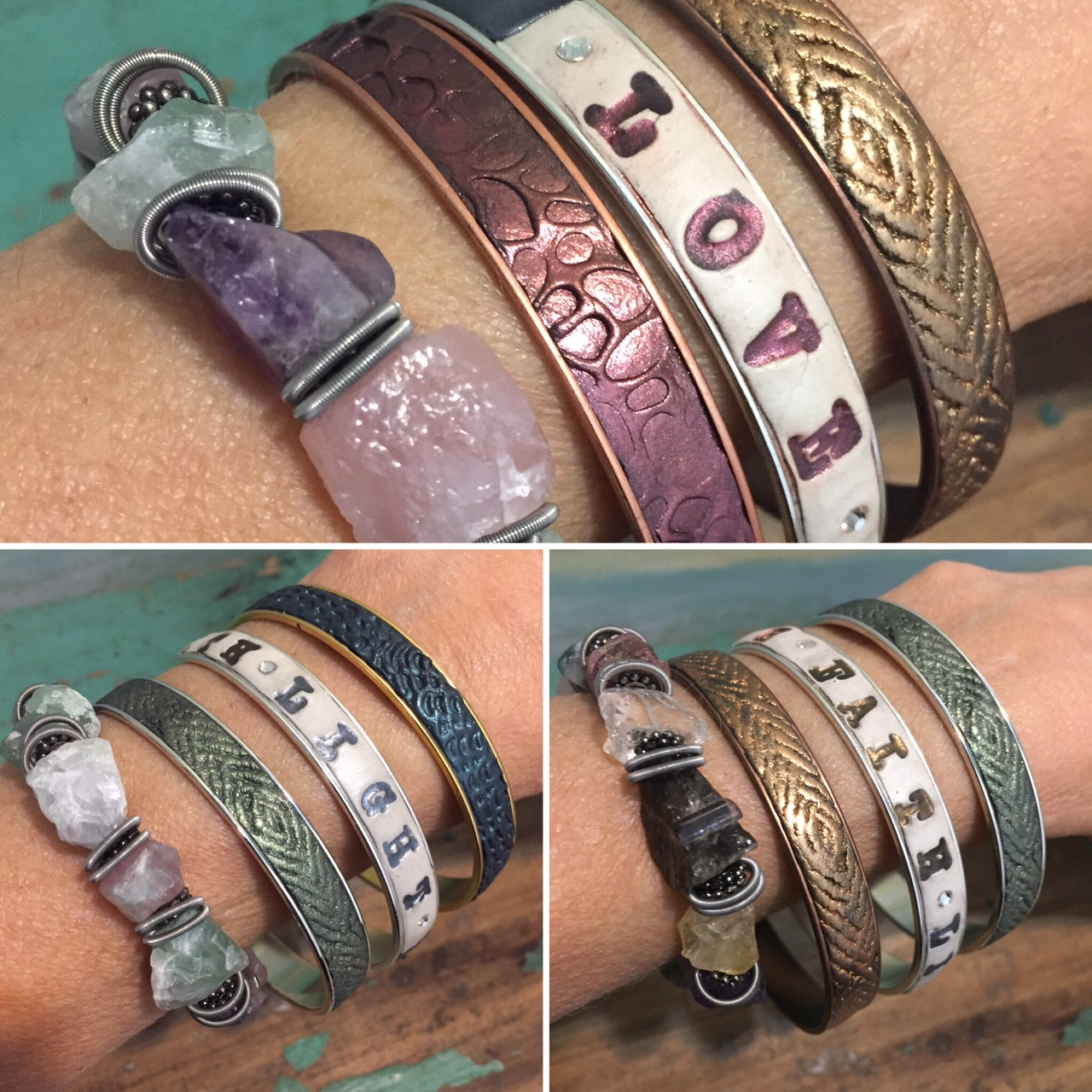 Clay on silver bangles are paired with mine-rough gemstones for their healing qualities.