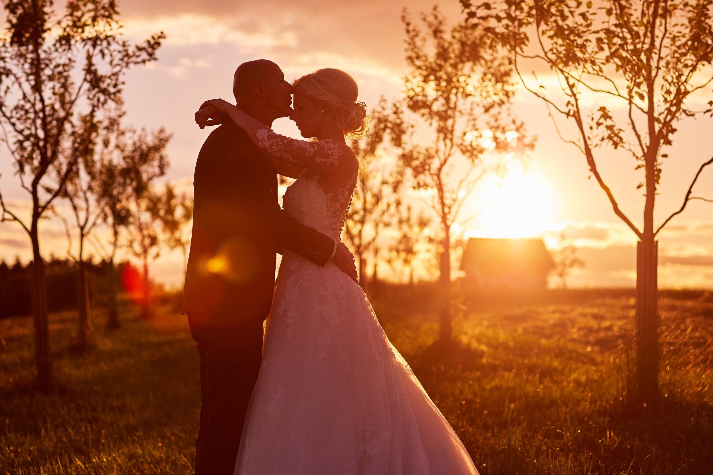 Hochzeitspaar im Gegenlicht bei der Hoamat in Haibach
