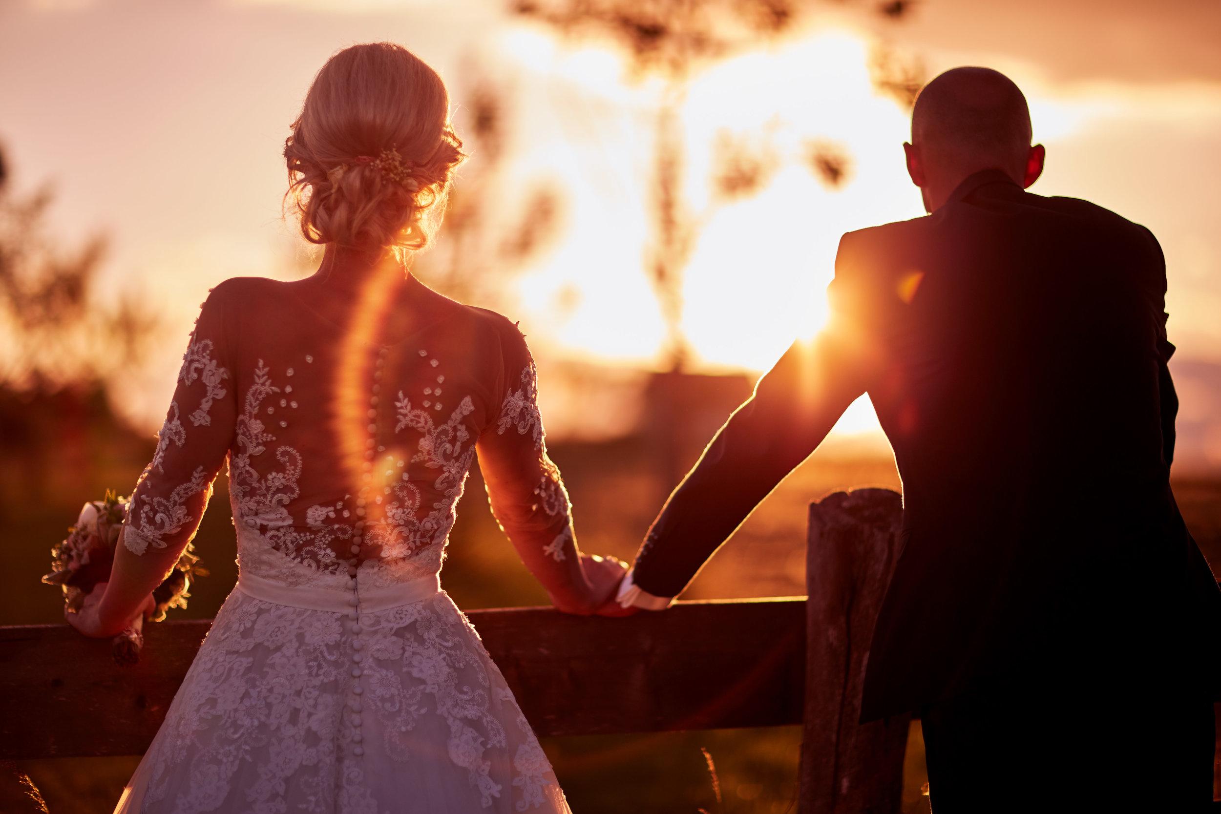 Hochzeitsfoto von Hochzeitspaar von hinten im Gegenlicht