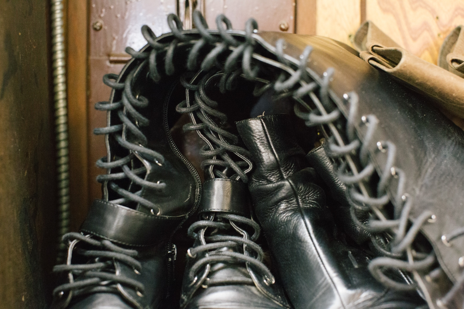 Leather boots wait to be repaired