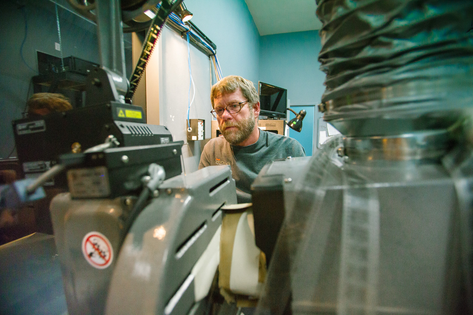 S.I.F.F Projectionist Larry Price in his projection room