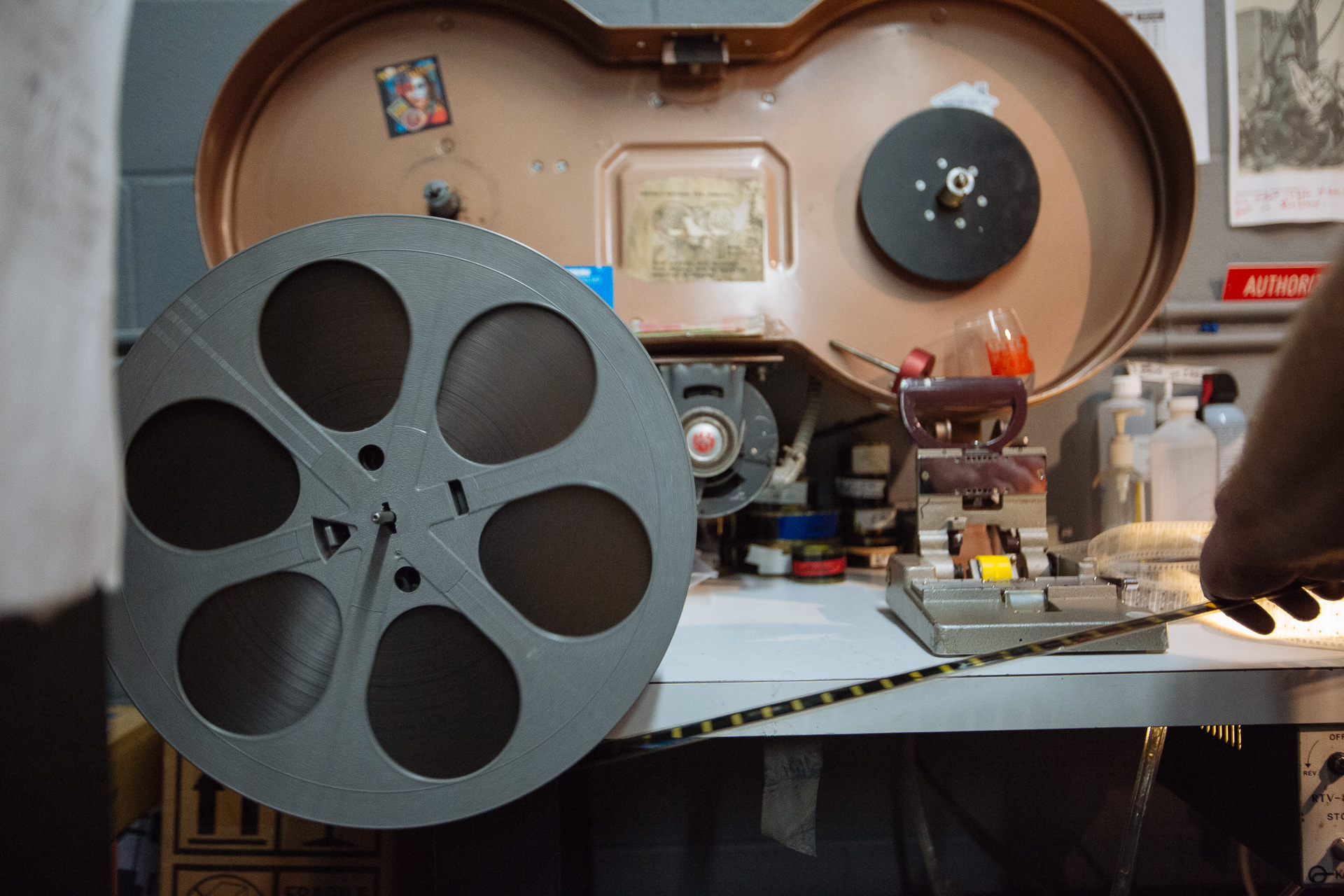S.I.F.F Projectionist Larry Price rolls film onto a reel