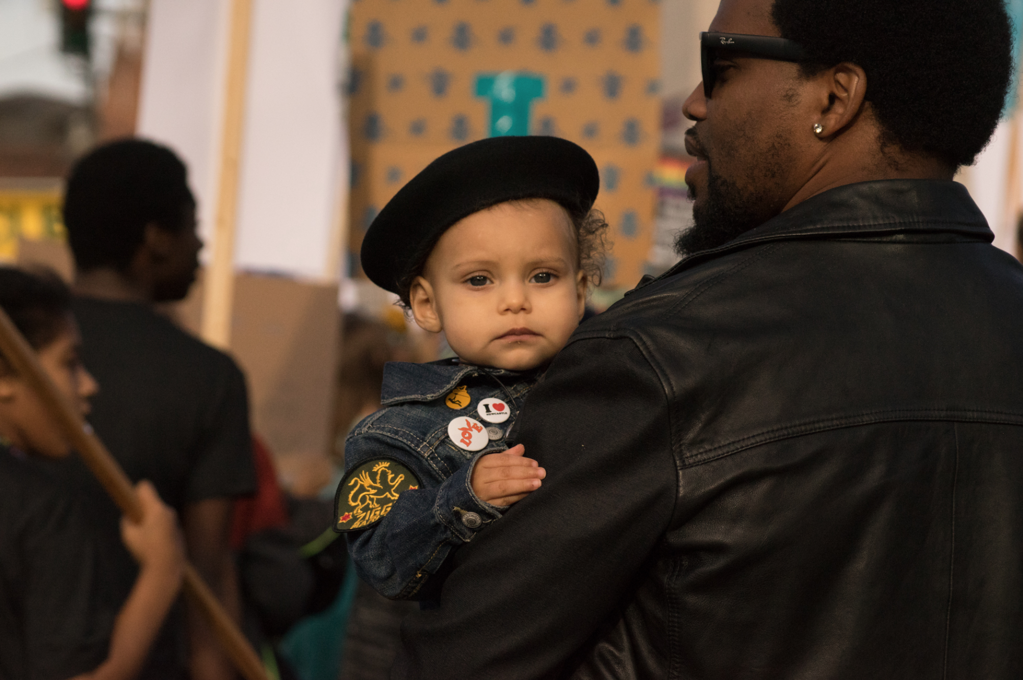 A young child attends her first MLK march in Seattle 2018