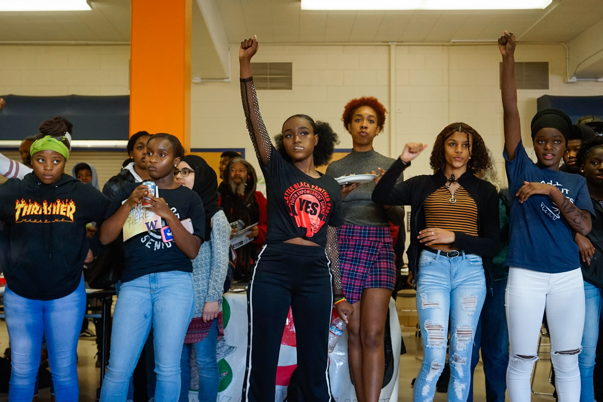 Highschool students attend a Youth Empowerment summit held by Seattle's Black Panther Party